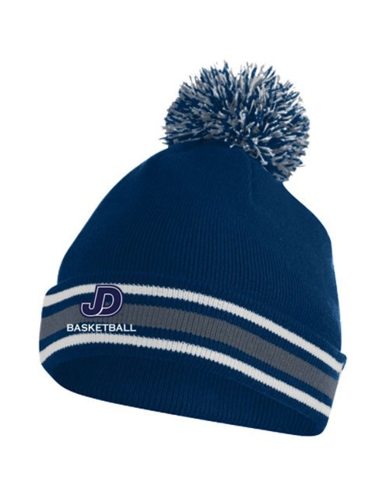 Embroidered Knit Hat in navy and white