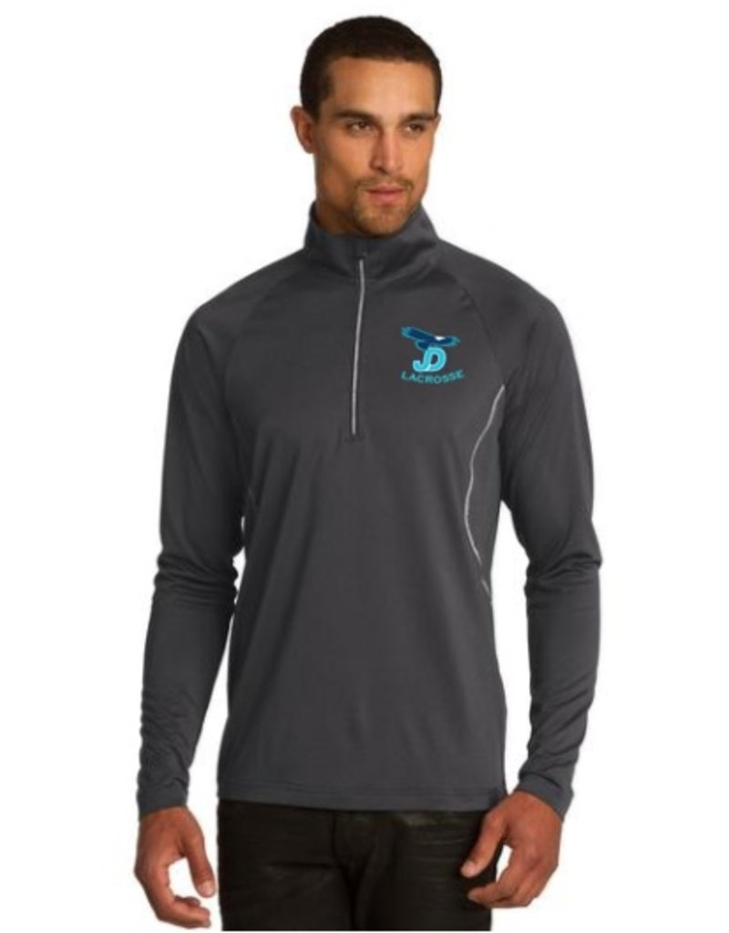 OGIO pullover with JD Lacrosse logo embroidered on left chest