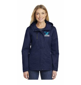 Girls Lacrosse Player Optional All Condition ladies jacket in navy with embroidered logo on left chest