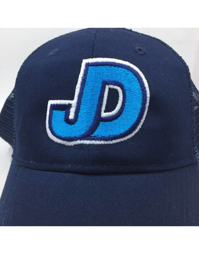 JD mesh hat with adjustable back JD embr. with teal and white