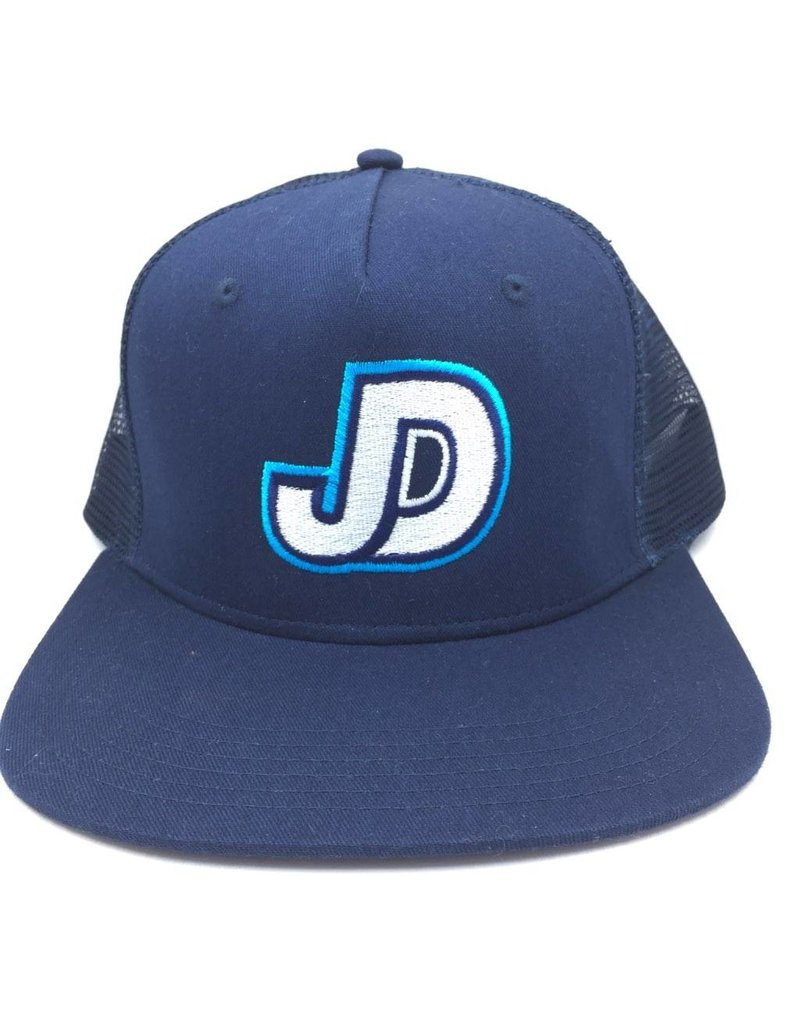 JDS navy hat flat bill with mesh and adj back JD logo embro on front