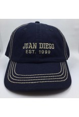 Juan Diego hat navy with khaki embroidery est. 1999;adj back