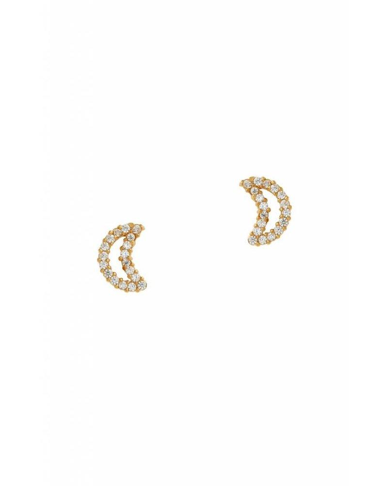 Tai Jewelry Moon Stud Earrings