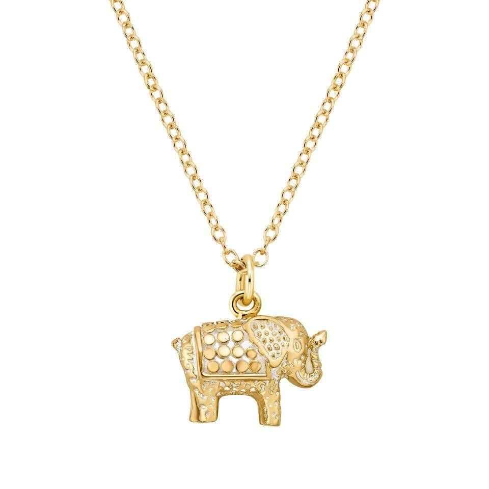 elephant copy necklace gold double products sparkling chain crystal silver pendant women in of