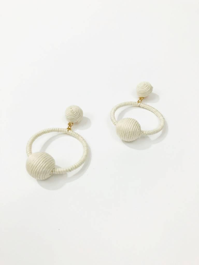 Mint Major Woven Ball Hoop Earrings