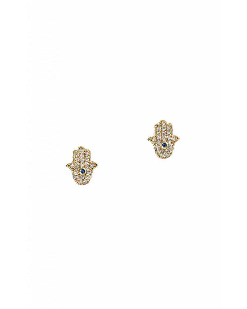 Tai Jewelry Mini Hamsa Stud Earrings