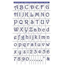 Rub N Etch Rub N Etch Stencils - Gala Style Full Alphabet with numbers