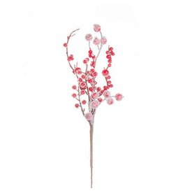 Darice Red Christmas Berry Pick: Frosted - 15 inches