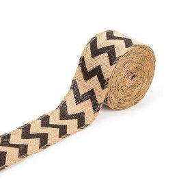 Darice ChevronBurlap Ribbon - Black - 2.5 inches x 10 yards
