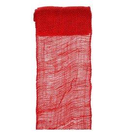 Darice Burlap Ribbon - Red - Sewn Edge - 6 inches x 5 yards