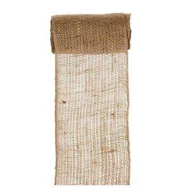 Darice Burlap Ribbon - Natural - Sewn Edge - 6 inches x 5 yards