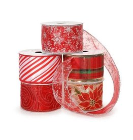 Darice Assorted Wired Ribbon - Red - 2 inches - 3 yards