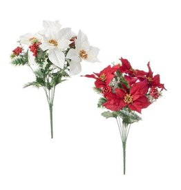 Darice Poinsettia Brush with Berries: 11 x 19 inches, 8 tips, 2 Assorted Colors