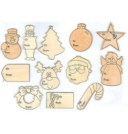 Darice Wood Gift Tags - 12 Styles - 4 inches