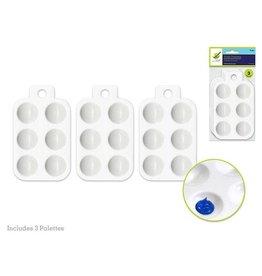 "Multi Craft Color Factory Paint Palette: 5.5"" Plastic Rectangular x3 6-Well"