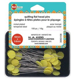 "HEIRLOOM HEIRLOOM Quilting Flat Head Pins - Yellow - 50mm (2"")"