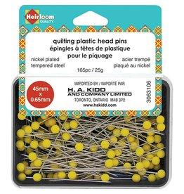 Hakidd HEIRLOOM Quilting Plastic Head Pins - Yellow - 45mmx0.65mm