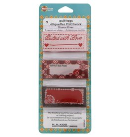 Hakidd Quilt Tags - Red &  brown - 9pcs