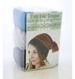Diamond Fair Isle Touque Hat Kit Red / Green/Purple