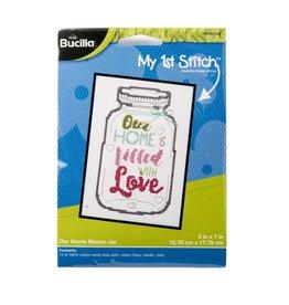 Bucilla Bucilla  My 1st Stitch - Counted Cross Stitch Kits - Our Home Mason Jar