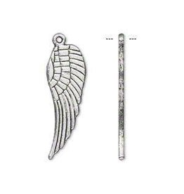 """Firemountain Beads Charm, antique silver-plated """"pewter"""" (zinc-based alloy), 28x9mm double-sided wing"""