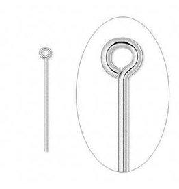 Firemountain Beads Eyepin, silver-plated  ass, 1 inch, 21 gauge. Sold per pkg of 100.