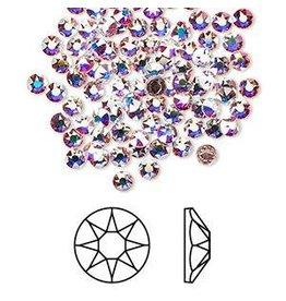 Firemountain Beads Flat back, Swarovski® crystal hotfix rhinestone, Crystal Passions®, crystal AB, foil back, 3-3.2mm Xirius rose (2078), SS12. Sold per pkg of 144 (1 gross)