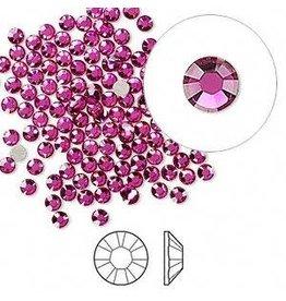 Firemountain Beads Flat back, Swarovski® crystal rhinestone, fuchsia, foil back, 2.5-2.7mm Xilion rose (2058), SS9. Sold per pkg of 144 (1 gross).