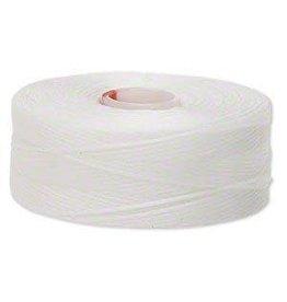 Firemountain Beads Thread, C-Lon®, nylon, white, size D. Sold per pkg of (2) 78-yard bobbins.