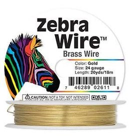 """Firemountain Beads Wire, Zebra Wireâ""""¢,  ass, gold color, round, 24 gauge. Sold per 20-yard spool."""