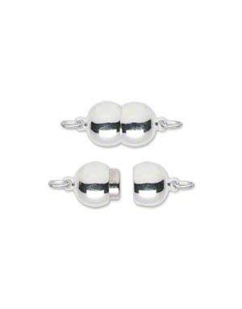 Firemountain Beads Clasp, magnetic, silver-plated  ass, 12x8mm double round. Sold individually.