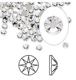 Firemountain Beads Flat back, Swarovski® crystal rhinestone, Crystal Passions®, crystal clear, foil back, 3-3.2mm Xirius rose (2088), SS12. Sold per pkg of 144 (1 gross).