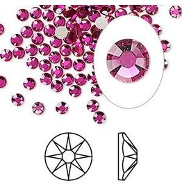 Firemountain Beads Flat back, Swarovski® crystal rhinestone, Crystal Passions®, fuchsia, foil back, 3-3.2mm Xirius rose (2088), SS12. Sold per pkg of 144 (1 gross).
