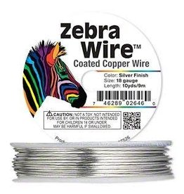 """Firemountain Beads Wire, Zebra Wireâ""""¢, copper, silver color, round, 18 gauge. Sold per 10-yard spool."""