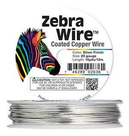 """Firemountain Beads Wire, Zebra Wireâ""""¢, copper, silver color, round, 20 gauge. Sold per 15-yard spool."""