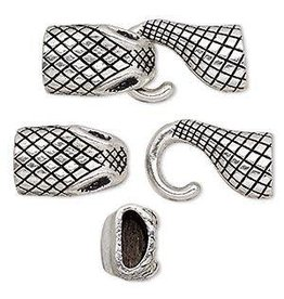 "Firemountain Gems Clasp, hook, antique silver-plated ""pewter"" (zinc-based alloy), 46x18mm snake with glue-in ends, 11.5x5mm hole."