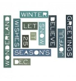 Tim Holtz Thinlits Die Set, Holiday Words 12Pk