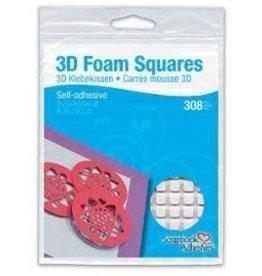 Ranger 3D Foam Squares, White Small 1/4 x 1/4 x 1/8 inch. 308 pc. White.