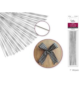 "MultiCraft Bow Tying Wire: 7"" Silver 26g 80/pk"