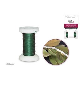 MultiCraft Floral Spool Wire: 26g Green 20m (0.45mm)