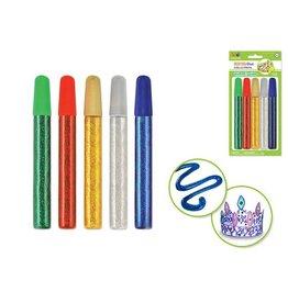 MultiCraft 75mlGlitter Glue Tubes 5x15ml Asst - A) Essential Metallics