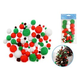 MultiCraft KX310 Pom-Poms Jumbo Pack x90 Holiday Colors Asst