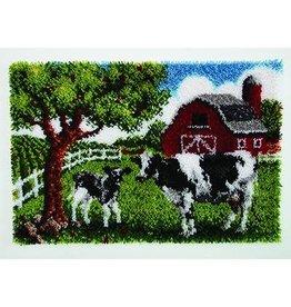 "Wonderart Wonderart Latch Hook Kit 27""x 40"" Contented Cow"