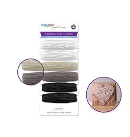 MultiCraft 29.5ft Multi-Purpose Colored Craft String B&W Mix