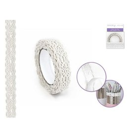 Dress Up Buttons Masking Tape: 1.5cmx1.5yd Cotton Lace - B) White 1