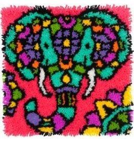"Elephant Colorful Latch Hook Kit 16""X16"""