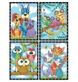 """Pencil Works Color By Number Kit 9""""X12"""" Animal Trios"""
