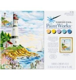 """Paint Works Paint By Number Kit 14""""X11"""" Lighthouse At Sunrise"""