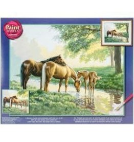 """Paint Works Paint By Number Kit 20""""X16"""" Horses By A Stream"""