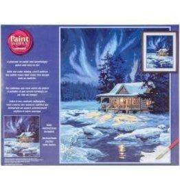 "Paint Works Paint By Number Kit 16""X20"" Moonlit Cabin"